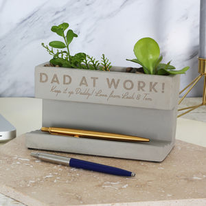 Personalised Concrete Pen Pot Planter - personalised gifts for fathers