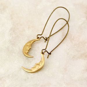 Crescent Moon Long Earrings