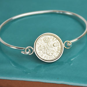 Sixpence Year Coin Bangle Bracelet 1928 To 1967 - jewellery sale