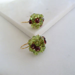 Garnet Peridot Cluster Earrings