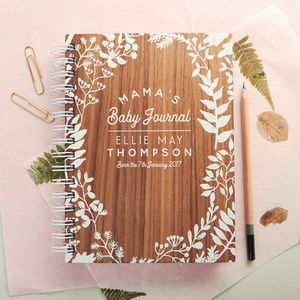 Personalised Walnut Baby Journal - stationery