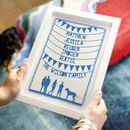 Personalised Family Names And Silhouette Print