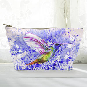 Personalised Hummingbird Canvas Cosmetic Bag - make-up & wash bags