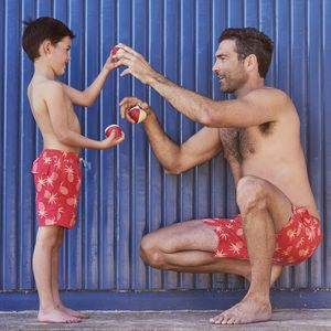 Father And Son Red Pineapple Swimming Trunks - clothing