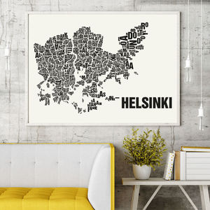 Helsinki Letter Map Screen Print