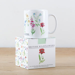 British Wild Flowers Illustration Mug - kitchen