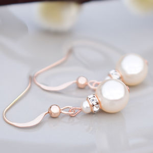 Rose Gold Crystal And Pearl Earrings - earrings