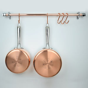 Copper And Chrome Pan Rail - home decorating