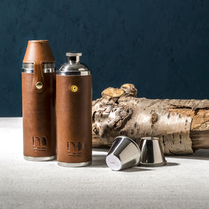 Luxury Leather Hunter Flask - gifts for him