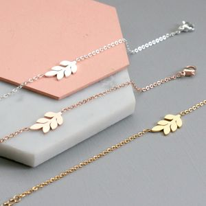Personalised Delicate Leaf Bracelet - mother's day gifts