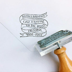 Personalised 'Much Ado' Ribbon Address Stamp