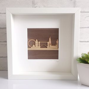Wooden London Skyline Framed Art