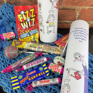 Personalised Teacher Thank You Gift With Retro Sweets