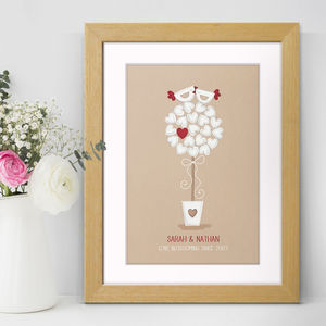 Love Birds Personalised Wedding Print - sale