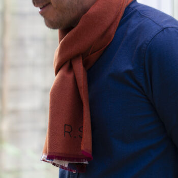 Men's Personalised Cashmere And Wool Herringbone Scarf