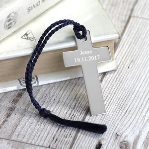 Personalised Silver Cross Bookmark - christening gifts