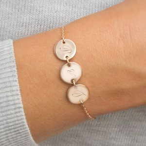Personalised Initial Triple Disc Bracelet - gifts for her