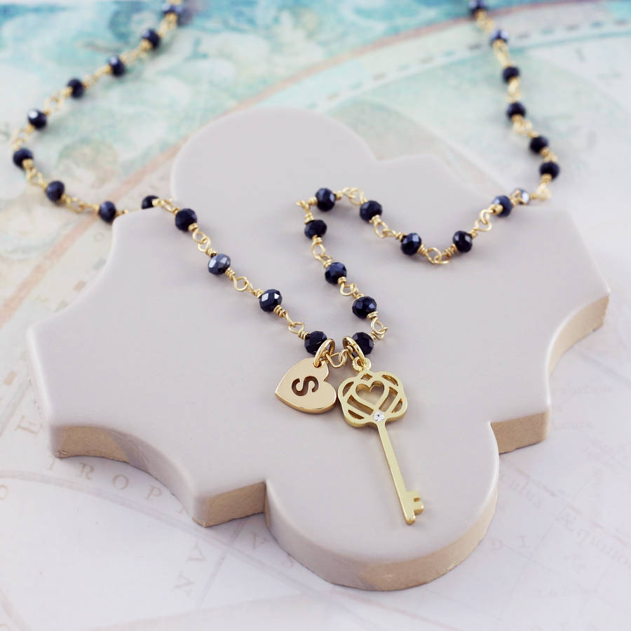 Rosary necklace with key charm by js jewellery notonthehighstreet rosary necklace with key charm aloadofball Gallery