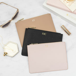Luxury Personalised Saffiano Leather Pouch