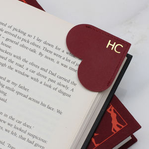 Personalised Initial Leather Heart Page Corner Bookmark
