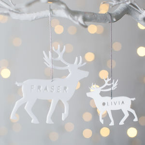 Personalised Reindeer Christmas Decoration - tree decorations