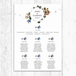 Rusted Floral Customised Table Plan