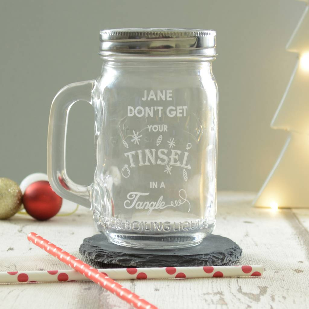 Christmas Tinsel Personalised Drinking Jar