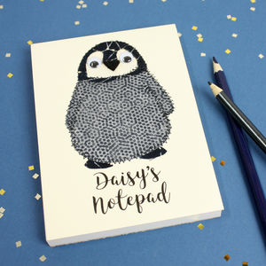 Personalised Penguin Embroidered Notepad - gifts: under £25