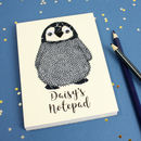 Personalised Penguin Embroidered Notepad