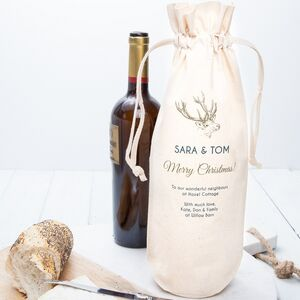 Personalised Christmas Stag Wine Bottle Bag