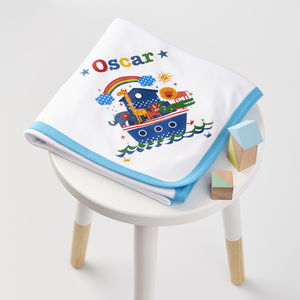 Child's Personalised Noah's Ark Baby Blanket - blankets, comforters & throws