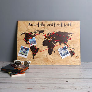 Personalised Quote World Map Print On Wood - maps & locations