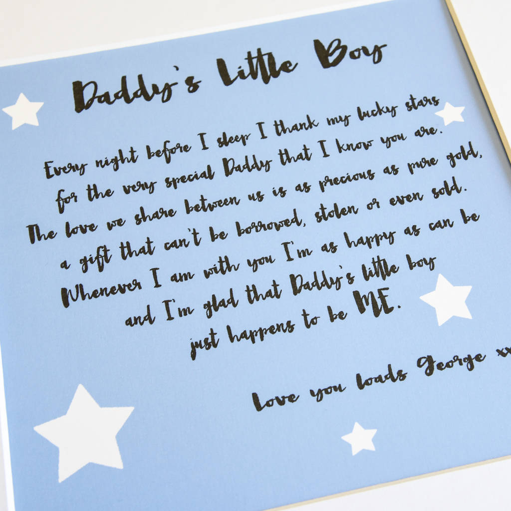 Daddy Poem Print From His Little Girl Or Boy By A Touch Of Verse