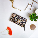 Ladies Leopard Print Pony Hair Leather Purse