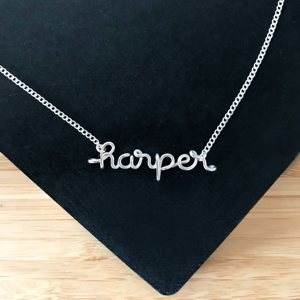 dcedd8c38 ... Necklace 14k Gold Filled. Personalised name harper wire pendant necklace  in Argentium® Silver handmade by Rachel and Joseph Jewellery
