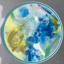 Circular Abstract Giclee Print, Turquoise Unframed