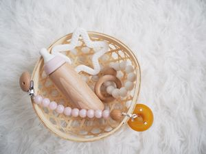 Pearl Pink Pacifier Clip - baby travel accessories