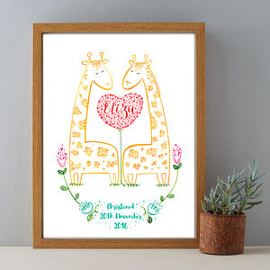 Personalised Baby Name Christening Giraffe Gift Print - christening gifts
