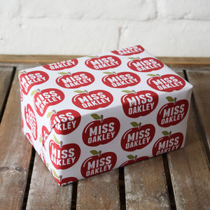 Personalised Teacher Apple Wrapping Paper