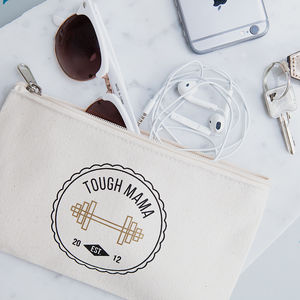 Personalised Tough Mama Canvas Pouch - travel wallets