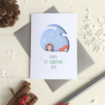 Personalised Baby's First Christmas Hedgehog Card