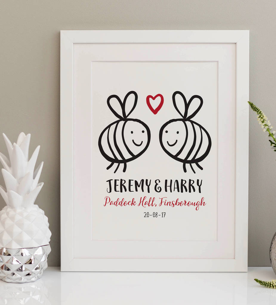 Personalised Wedding Print Bees By A Is For Alphabet