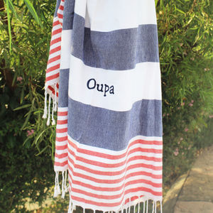 Personalised Navy Stripe Hammam Towels - bathroom