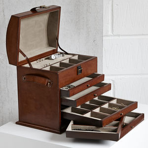 Leather Jewellery Organiser - boxes, trunks & crates
