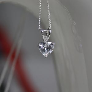 Sterling Silver And Diamante Heart Pendant Necklace