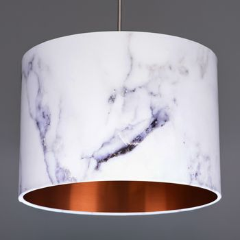 Carrara Marble Lampshade Choice Of Metallic Linings