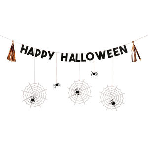 Halloween Letter Garland With Hanging Spiders - party decorations