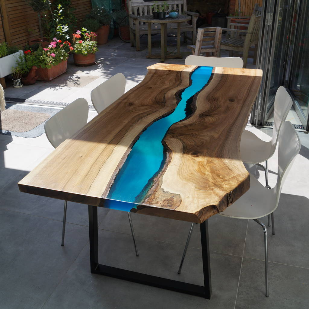 resin river dining table by revive joinery