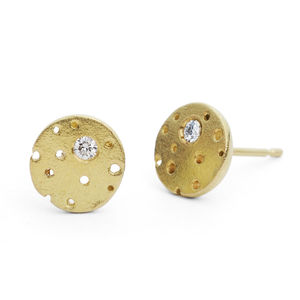 Patterned 18ct Gold And Diamond Earrings - birthstone jewellery gifts