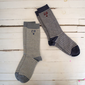Embroidered Womens Stripey Alpaca Socks